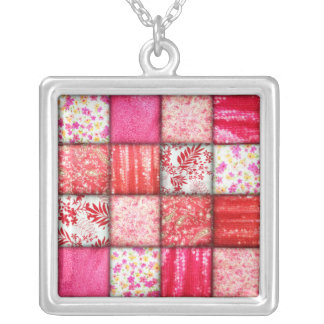 Red and Pink Faux Patchwork Quilting Pattern Square Pendant Necklace