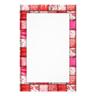 Red and Pink Faux Patchwork Quilting Pattern Stationery