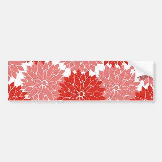 Red and Pink Flower Blossoms Floral Print Bumper Sticker