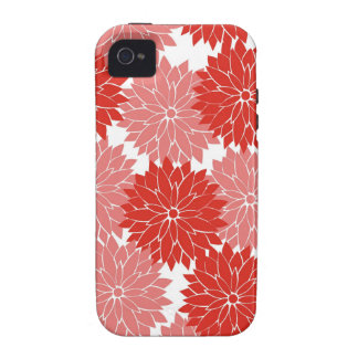 Red and Pink Flower Blossoms Floral Print iPhone 4/4S Case