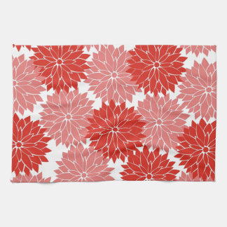 Red and Pink Flower Blossoms Floral Print Kitchen Towel