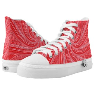 Red and Pink Flowing Spiral Print High-Top Sneakers