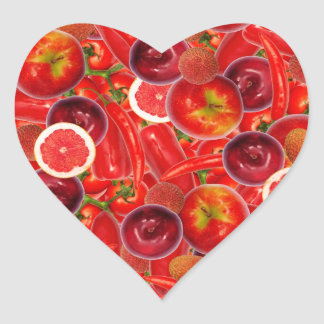 Red and pink fruits and vegetables heart sticker