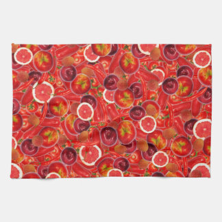Red and pink fruits and vegetables hand towels