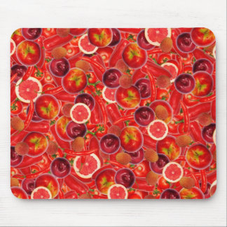 Red and pink fruits and vegetables mouse pad