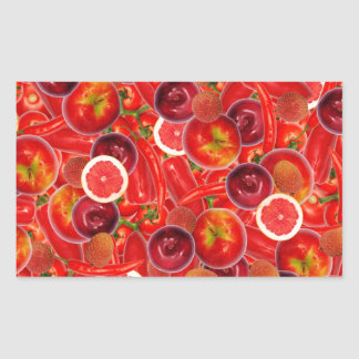Red and pink fruits and vegetables rectangular sticker