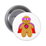 red and pink gingerbread man super hero badge