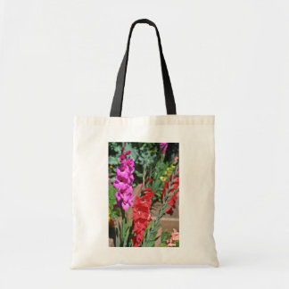 Red And Pink Gladiolus Stalks flowers Budget Tote Bag