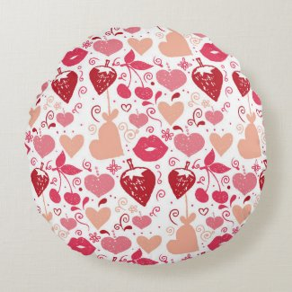 Red and Pink Hearts and Lips Cherries Strawberries Round Pillow