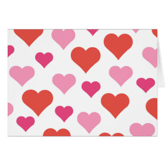 Red and Pink Hearts notecard