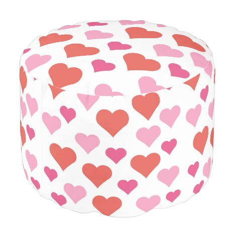 Red and Pink Hearts round pouf