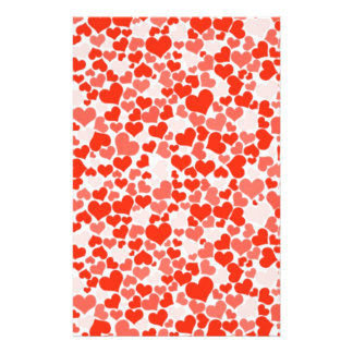 Red and Pink Hearts Stationery