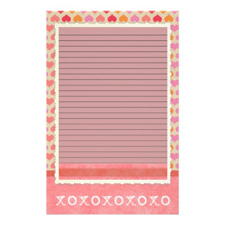 Red and Pink Hearts Stationery - optional lines