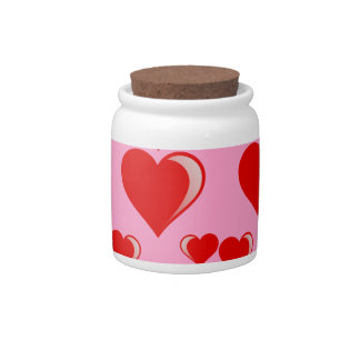 Red and Pink Hearts Valentine's Day Pattern Candy Dishes