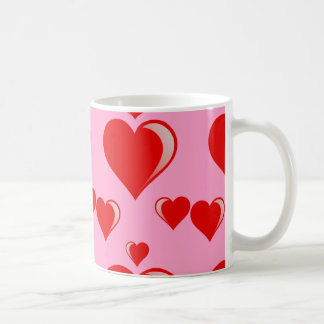 Red and Pink Hearts Valentine's Day Pattern Mugs