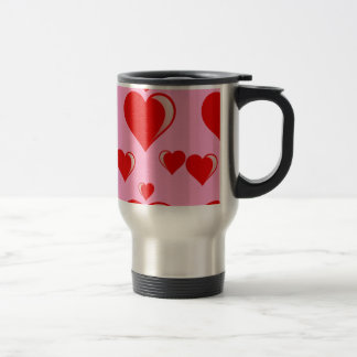 Red and Pink Hearts Valentine's Day Pattern Travel Mug