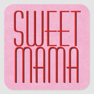 Red and Pink Modern SWEET MAMA Square Sticker
