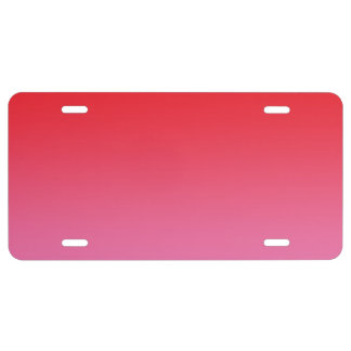 """""""Red And Pink Ombre"""" License Plate"""