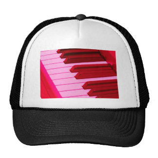 Red and Pink Piano or Organ Keyboard Hat