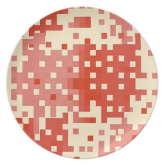 Red and Pink Pixel Pattern Plate