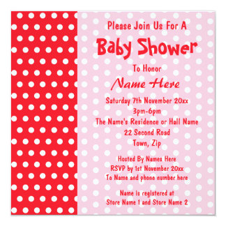 Red and Pink Polka Dot, Custom Baby Shower Custom Invitations