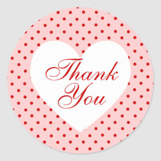 Red and Pink Polka Dot Heart Thank You Classic Round Sticker
