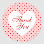 Red and Pink Polka Dot Heart Thank You Round Stickers