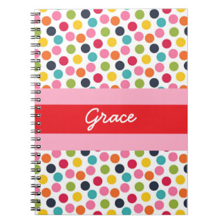 Red and Pink Polka Dot Personalized Note Book