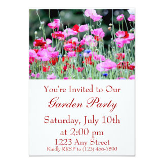 """Red and Pink Poppies 5"""" X 7"""" Invitation Card"""