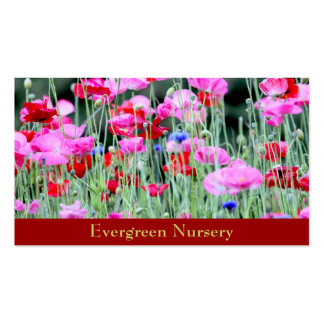 Red and Pink Poppies Business Card Template