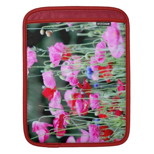 Red and Pink Poppies Sleeves For iPads
