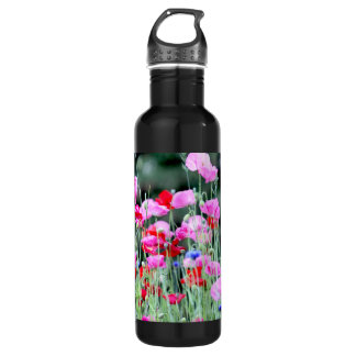 Red and Pink Poppies Stainless Steel Water Bottle