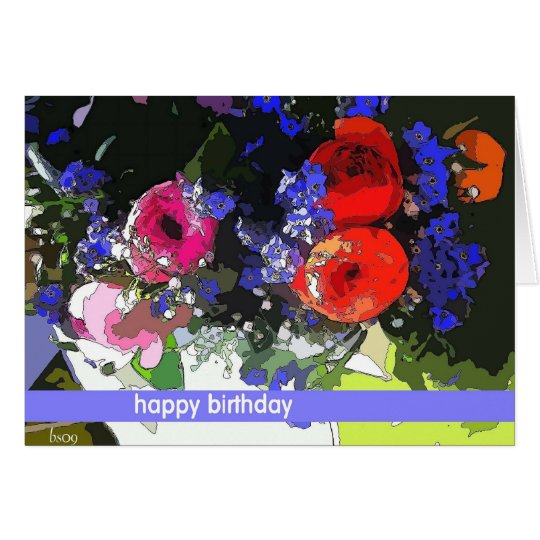 red and pink ranunculus card
