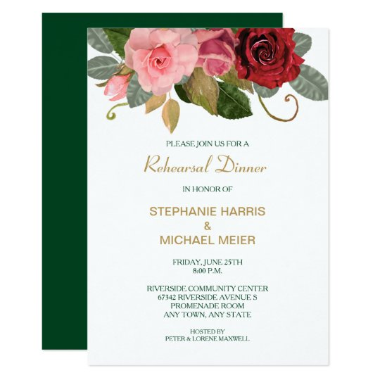 Red And Pink Wedding Invitations: Red And Pink Rose Border Wedding Rehearsal Dinner