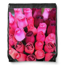 red and pink roses backpack