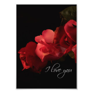 """Red and Pink Roses """"I love you"""" Photo Print"""