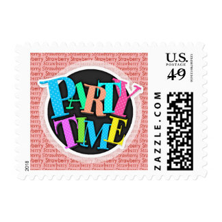 Red and Pink Strawberry Pattern Postage Stamp