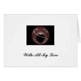 Red and Pink Swirled Fractal Art Black Heart Card
