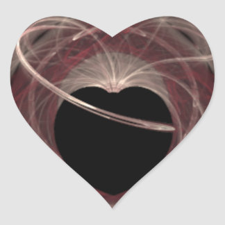 Red and Pink Swirled Fractal Art Black Heart Heart Sticker