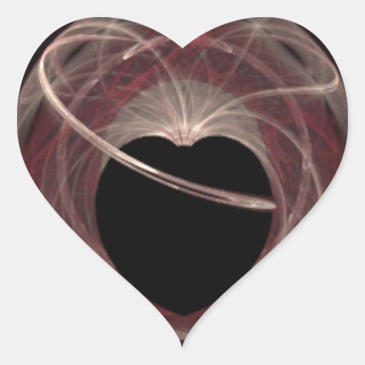 Red and Pink Swirled Fractal Art Black Heart Heart Sticker