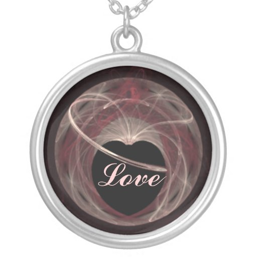Red and Pink Swirled Fractal Art Heart Round Pendant Necklace