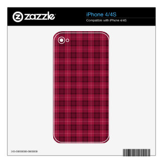 Red and Pink Tartan Plaid Decal For The iPhone 4S
