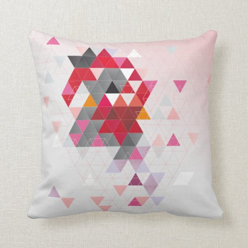 Red and pink triangles throw pillow