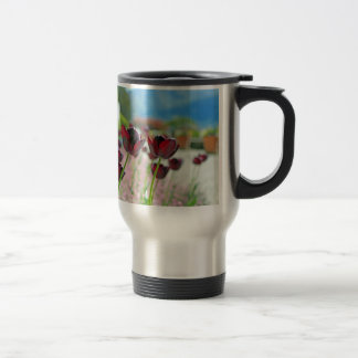 Red and Pink Tulip Blossoms 15 Oz Stainless Steel Travel Mug