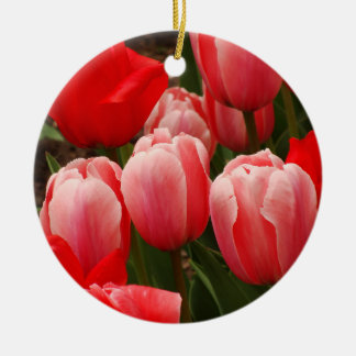 Red and Pink Tulips Ceramic Ornament