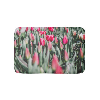 Red and Pink Tulips, Flower Field in Spring Bath Mats