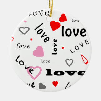 red and pink typography text design love hearts ceramic ornament