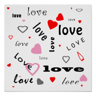 red and pink typography text design love hearts poster