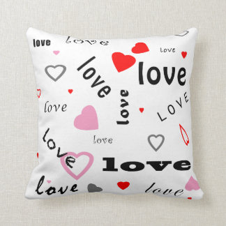 red and pink typography text design love hearts throw pillow
