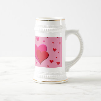 Red and Pink Valentine hearts Beer Stein